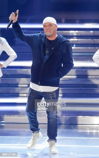 Austrian singer Gerhard Friedle alias DJ Oetzi performs during the tv show 'Willkommen bei Carmen Nebel' at TUI Arena on September 30 2017 in Hanover...