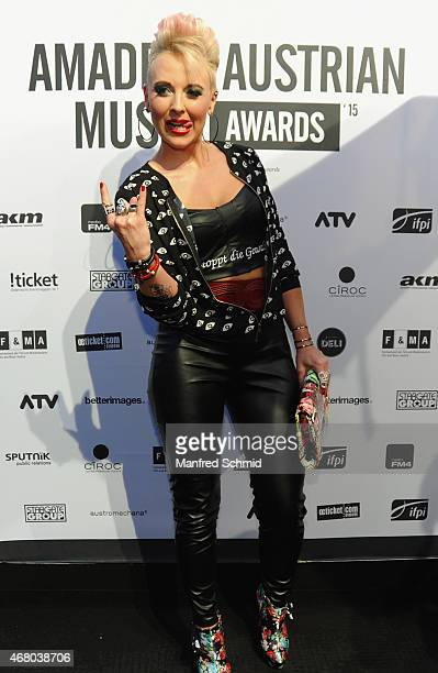 Austrian singer Hannah poses for a photograph during the Amadeus Austrian Music Awards 2015 at Volkstheater on March 29 2015 in Vienna Austria