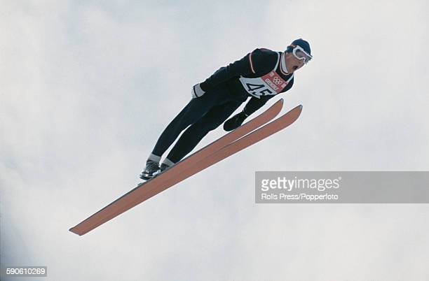 Austrian ski jumper Reinhold Bachler competes in the large hill individual ski jumping competition at the 1968 Winter Olympic Games at...