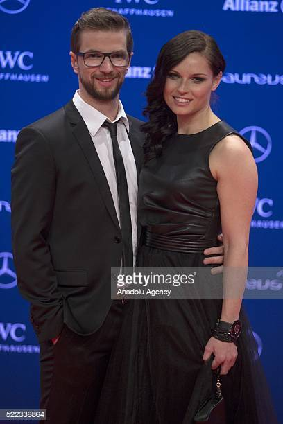 Austrian skier Anna Fenninger and her new husband Manuel Veith attend the 2016 Laureus World Sports Awards at Messe in Berlin Germany on April 18 2016