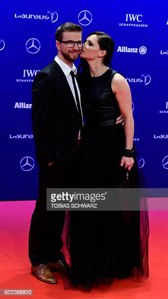 Austrian skier Anna Fenninger and husband Manuel Veith pose on the red carpet before the Laureus World Sports 2016 Awards Ceremony in Berlin on April...
