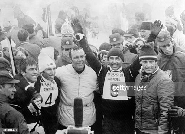 Austrian skier Karl Schranz flanked by compatriot Alfred Matt Swiss Herbert Huber compatriot and skiing legend Toni Sailer and Frenchman JeanClaude...