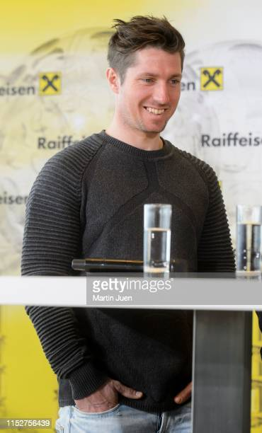 Austrian skier Marcel Hirscher at the press conference at Raiffeisen Bank International on March 19, 2019 in Vienna, Austria.