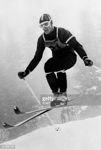 Austrian skier Toni Sailer is airborne during a downhill run 11 January 1956 in Wengen Sailer won three gold medals at the 1956 Winter Olympic Games...