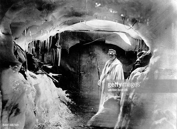 Austrian soldier in front of a shelter in a glacier on the Ortler massif August 1916