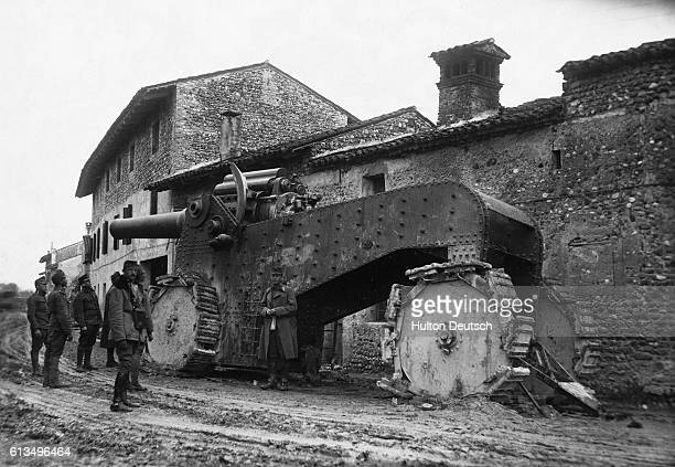 Austrian soldiers stand with a captured Italian howitzer, ca. 1915.