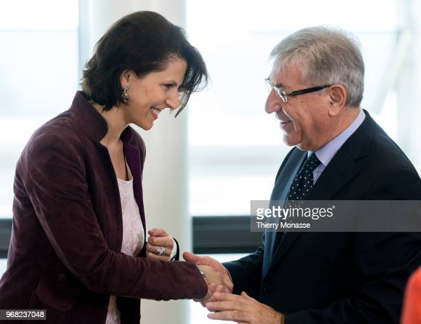 Austrian state secretary in the Home affairs Ministry Karoline Edtstadler talks with the EU Environment Maritime Affairs and Fisheries Commissioner...