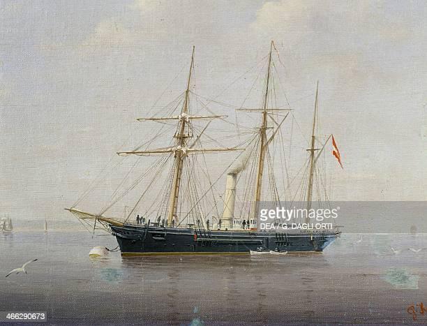 Austrian steamships arriving in Trieste by P Kappley 19th century
