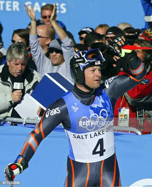 Austrian Stephan Eberharter celebrates in the finish line after the men's giant slalom 2nd run for the Salt Lake 2002 Winter Olympics 21 February...