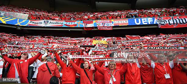 Austrian supporters look on during the UEFA EURO 2016 Group F match between Portugal and Austria at Parc des Princes on June 18 2016 in Paris France