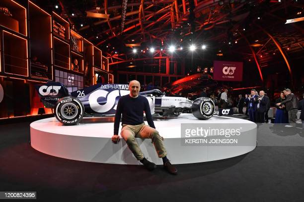 Austrian Teamchef Franz Tost poses in front of the new car at the presentation of Italian Formula One racing team Alpha Tauri at Hangar 7 in Salzburg...