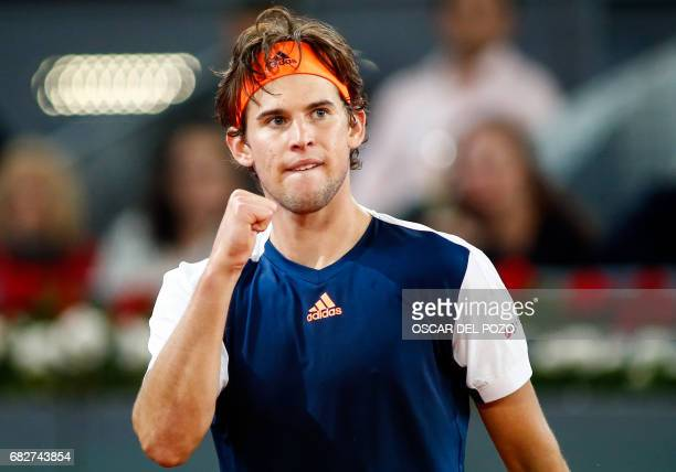 Austrian tennis player Dominic Thiem celebrates a point against Uruguayan tennis player Pablo Cuevas during the ATP Madrid Open semifinal in Madrid,...