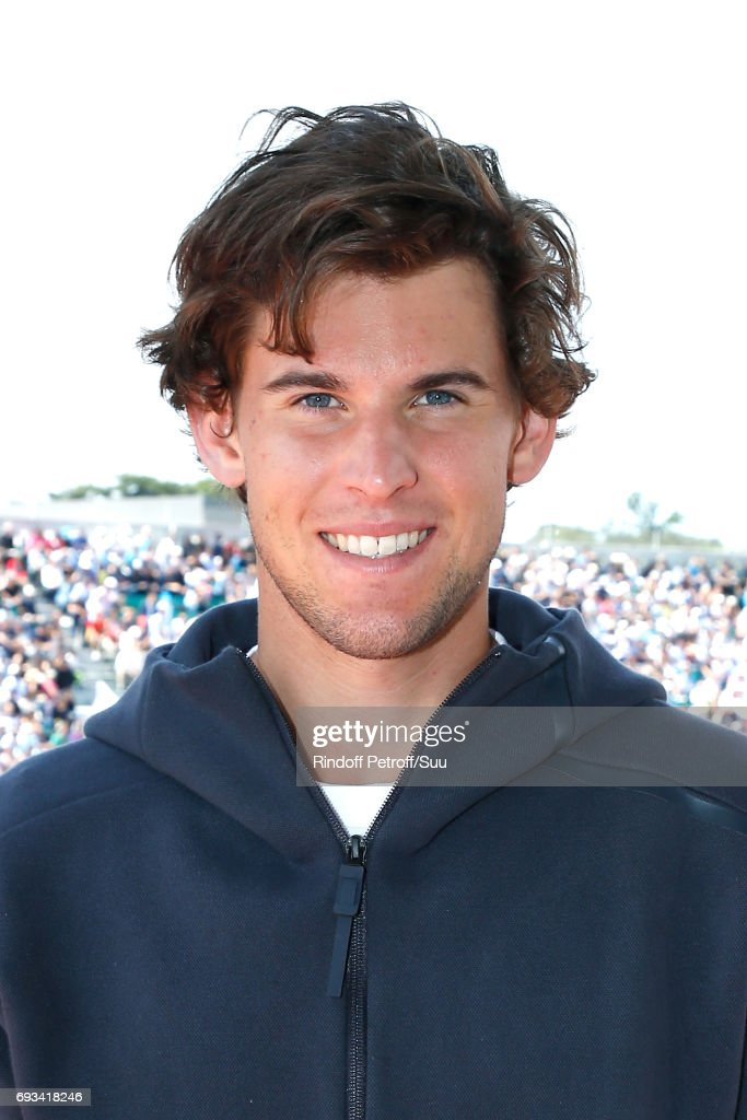Austrian Tennis player Dominic Thiem poses, after his victory against Djokovic, at France Television french chanel studio during the 2017 French Tennis Open - Day Eleven at Roland Garros on June 7, 2017 in Paris, France.