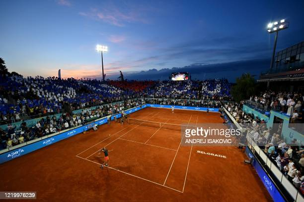 Austrian tennis player Dominic Thiem serves to Serbian tennis player Filip Krajinovic during the final at the Adria Tour, Novak Djokovic's Balkans...