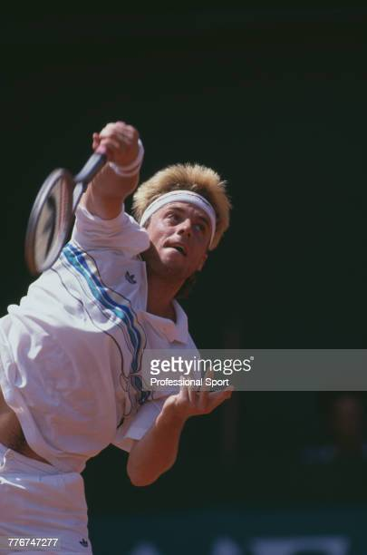 Austrian tennis player Horst Skoff pictured in action during play between Austria and Great Britain in Group 1 Europe Zone final of the 1988 Davis...