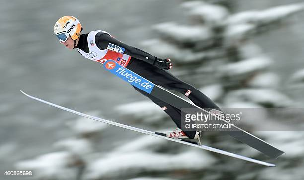 Austrian Thomas Diethart competes during a training session ahead of the qualification for the FourHills Ski jumping tournament in Oberstdorf...