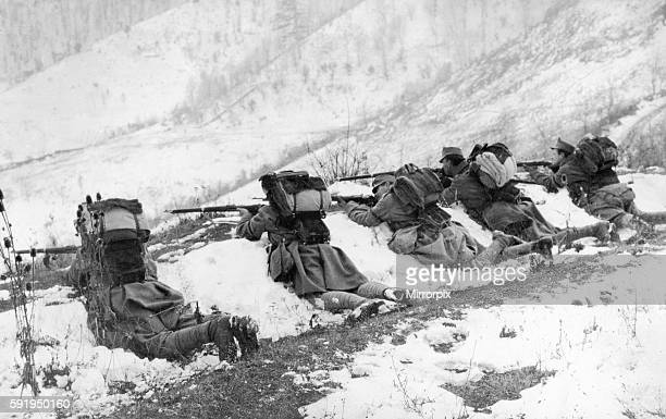 Austrian troops seen here defending a mountain top during the winter campaign on the Montenegro front. Circa December 1916