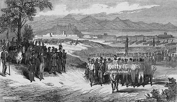 Austrian troops walk out of the Quadrilatero fortress of Peschiera del Garda after surrendering to the Piedmontese forces of the Kingdom of Sardinia...
