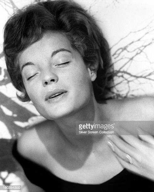 Austrianborn actress Romy Schneider with her eyes shut circa 1958