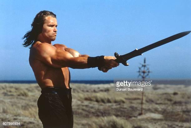 Austrianborn American actor Arnold Schwarzenegger on the set of Conan the Barbarian directed by John Milius