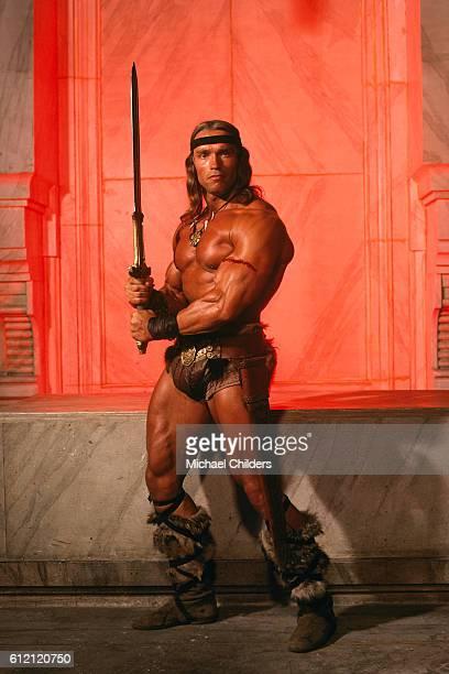 Austrianborn American actor Arnold Schwarzenegger stars in movie Conan the Destroyer by American director screenwriter and producer Richard Fleischer