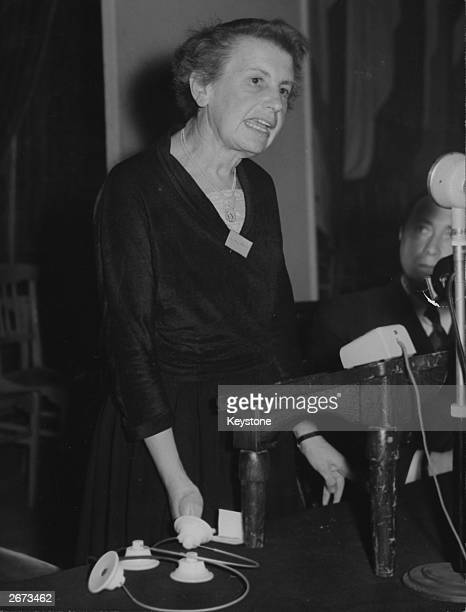 Austrian-born British psychoanalyst Anna Freud , daughter of German psychoanalyst Sigmund Freud, speaking at the closing session of the International...