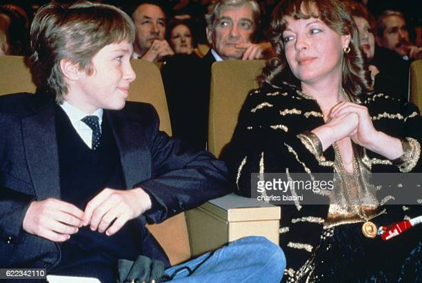 Austrianborn German actress Romy Schneider and her son David attend the 6th Cesar Awards ceremony