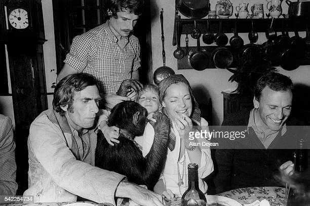 Austrianborn German actress Romy Schneider her son David and French actor JeanLouis Trintignant with director Pierre GranierDeferre on the set of his...