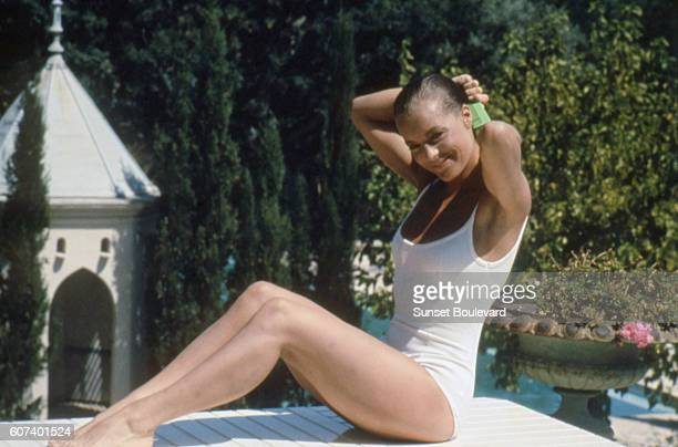 Austrianborn German actress Romy Schneider on the set of La Piscine directed by Jacques Deray
