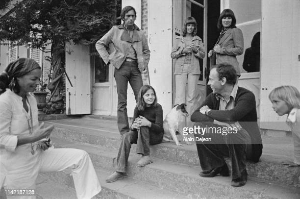 Austrianborn German actress Romy Schneider with her son David French actor JeanLouis Trintignant with his daughter Marie Trintignant on the set of Le...
