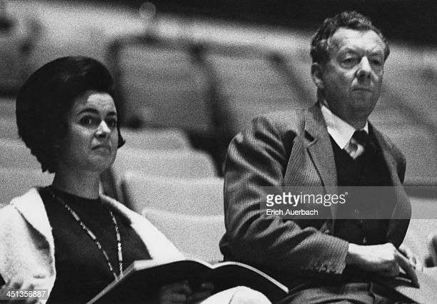 Austrianborn pianist Marion Stein Countess of Harewood and English composer Benjamin Britten listen to Britten's cantata 'Voices For Today' at the...