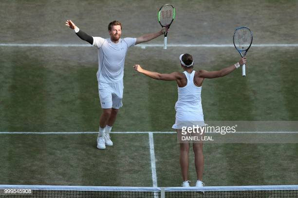Austria's Alexander Peya and US player Nicole Melichar celebrate after beating Britain's Jamie Murray and Belarus's Victoria Azarenka 7-6, 6-3 in...