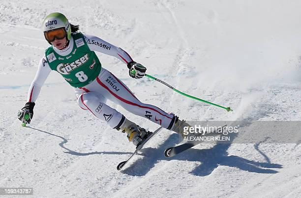 Austria's Anna Fenninger competes during the St Anton Women's downhill race held in Sankt Anton am Arlberg Austria as part of the 2013 FIS Ski World...