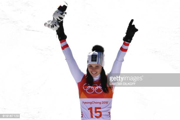 Austria's Anna Fenninger Veith second placed celebrates on the podiium during the victory ceremony of the Women's SuperG at the Jeongseon Alpine...