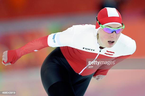 Austria's Anna Rokita competes in the Women's Speed Skating 3000m at the Adler Arena during the Sochi Winter Olympics on February 9 2014 AFP PHOTO /...