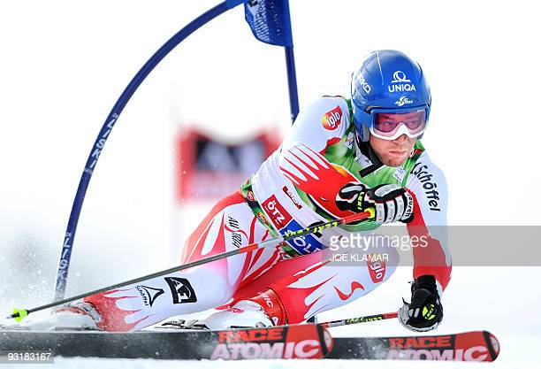 Austria's Benjamin Raich competes in men's giant slalom during the FIS Alpine Skiing World cup on Rettenbach glacier in Soelden on October 25 2009...