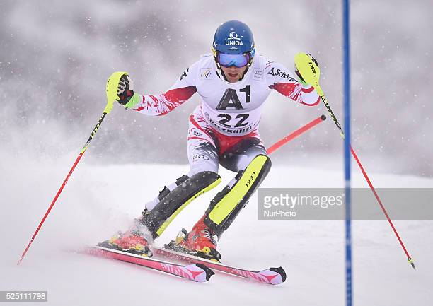 Austria's Benjamin Raich races down the course during the men's Slalom on the third day of the famous Hahnenkamm at the FIS SKI World Cup in...