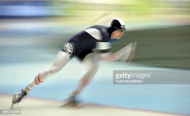 Austria's Bram Smallenbroek competes in the men's 500 m at the ISU European Speed Skating Championships in Chelyabinsk on January 10 2015 AFP PHOTO /...