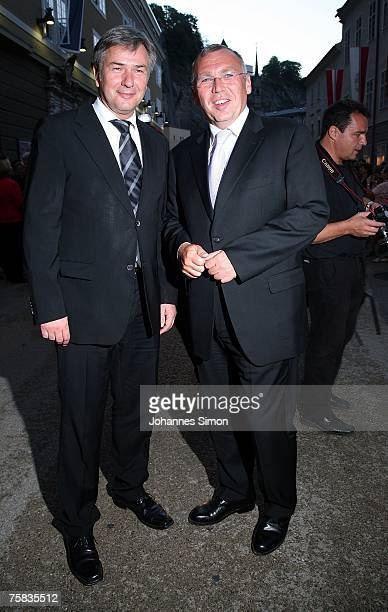 Austria's Chancellor Alfred Gusenbauer and Klaus Wowereit Mayor of Berlin arrive for the opening concert of Salzburg summer festival on July 27 2007...