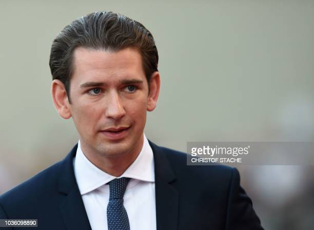 Austria's Chancellor Sebastian Kurz arrives at the Felsenreitschule prior to an informal dinner as part of the EU Informal Summit of Heads of State...