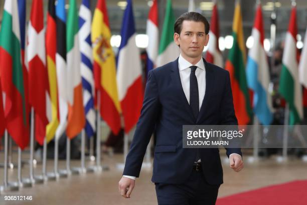 Austria's Chancellor Sebastian Kurz arrives on the first day of a summit of European Union leaders at the EU headquarters in Brussels on March 22...