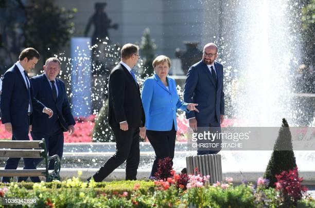 Austria's Chancellor Sebastian Kurz, Denmark's Prime Minister Lars Lokke Rasmussen, Finland's Prime minister Juha Sipila, German Chancellor Angela...