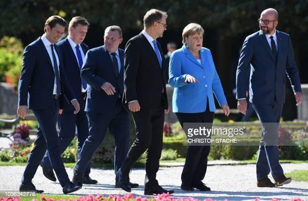 Austria's Chancellor Sebastian Kurz, Latvia's Prime Minister Maris Kucinskis, Denmark's Prime Minister Lars Lokke Rasmussen, Finland's Prime minister...