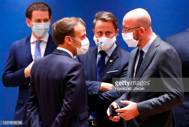 Austria's Chancellordesignate Sebastian Kurz France's President Emmanuel Macron Luxembourg's Prime Minister Xavier Bettel and President of the...