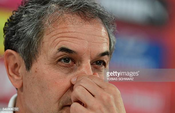 Austria's coach Marcel Koller holds a press conference at their training ground in Mallemort on June 15 during the Euro 2016 football tournament /...