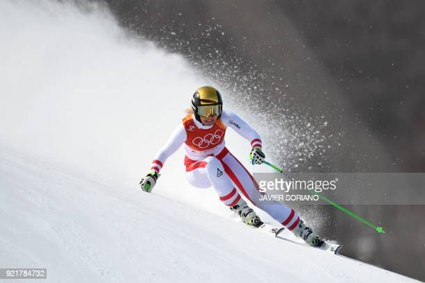 Austria's Cornelia Huetter competes in the women's Downhill at the Jeongseon Alpine Center during the Pyeongchang 2018 Winter Olympic Games on...