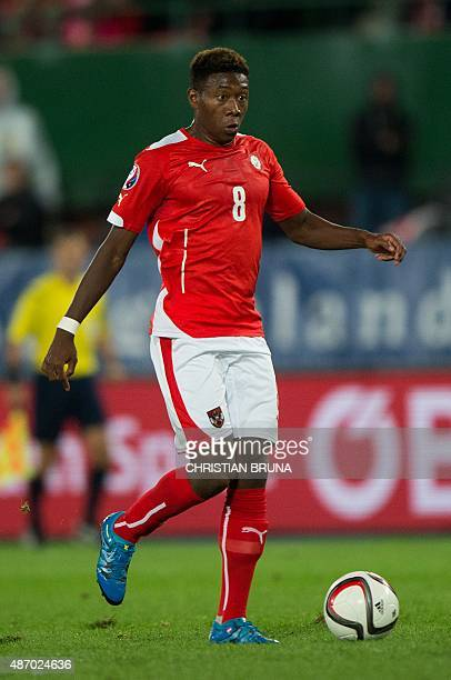 Austria's David Alaba controls the ball during the Euro 2016 qualifying Group G football match between Austria and Moldova in Vienna on September 5...