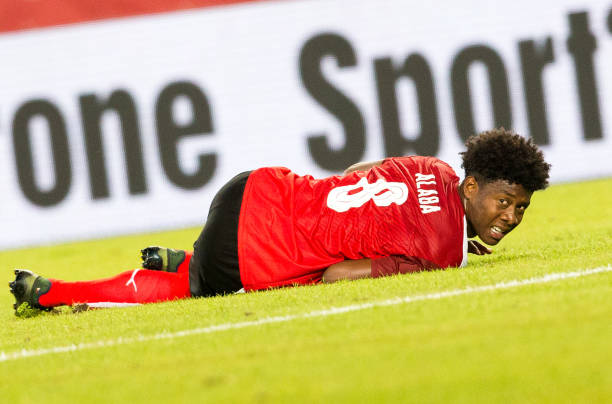 David Alaba had to leave the game against Georgia with an ankle injury. (GEORG HOCHMUTH/AFP/Getty Images)