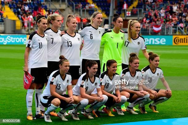 Austria's defender Viktoria Schnaderbeck defender Carina Wenninger defender Virginia Kirchberger midfielder Katharina Schiechtl goalkeeper Manuela...