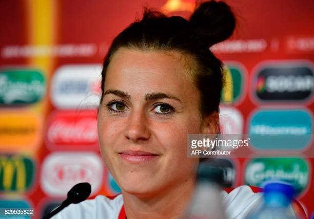 Austria's defender Viktoria Schnaderbeck looks on during press conference during the UEFA Women's Euro 2017 football tournament in Breda on August 2...